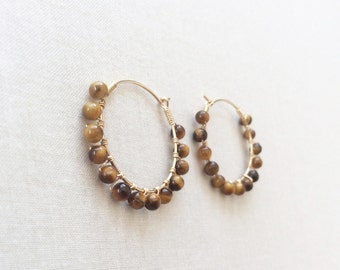 Tiger Eye Gold Hoop Earrings - Hoop Earrings - Hoop Earrings Gold - Tiger Eye Earrings - Tiger Eye Jewelry - Small Hoop Earrings - Hoops