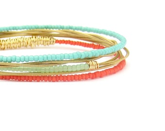 Bangle Bracelets // Set of 5 Bracelets // Gold & Beaded Bangle Bracelets // Eco-Friendly Jewelry // Coral Mint Turquoise / Summer Women Gift