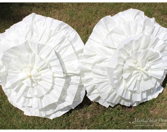 Set of 2 pc Wedding Parasol Bridal Umbrellas for Kids with Multi Layers of Gorgeous Fabric in Ivory