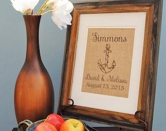 Personalized Burlap Wedding Gift - Personalized Bridal Shower Gift - Burlap Monogrammed Wall Art - Bridal Shower Gift for Bride - Anchor Art
