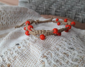 Hemp macrame beaded bracelet