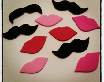 50 Pack Adhesive Foam Mustache and Lips Sticker Pack, Adhesive Mustaches, Moustache, Valentine's, Adhesive Moustache, Mustache Party Favors