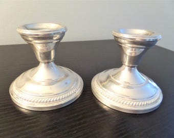 Vintage Sterling Silver Candleholders Candlestick Holders by Hamilton Set of 2