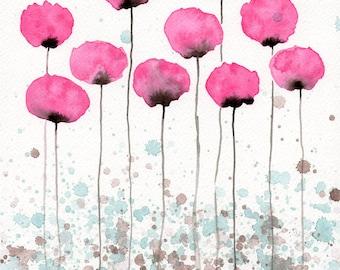 Watercolor Painting: Watercolor Flower Painting -- Art Print --  Flutter -- Pink Flowers -- 8x10