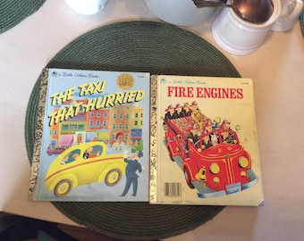 Little Golden Books, Vintage, Fire Engines, Taxi