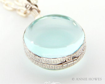 Sterling Silver  Glass Locket Round Pendant. Wedding Bouquet Charm. 25mm Diameter. AHSSCGLP