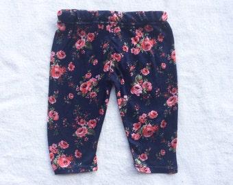 SALE Navy, Pink, Floral, Flower, Baby Girl, Knit Leggings Pants