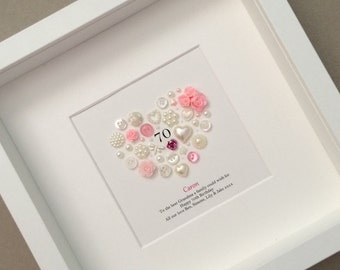 Birthday gift, 18th, 21st, 30th, 40th, 50th, 60th, 70th, 80th, 90th, 100th Birthday Button Art, Gift for Sister, Best Friend Gift