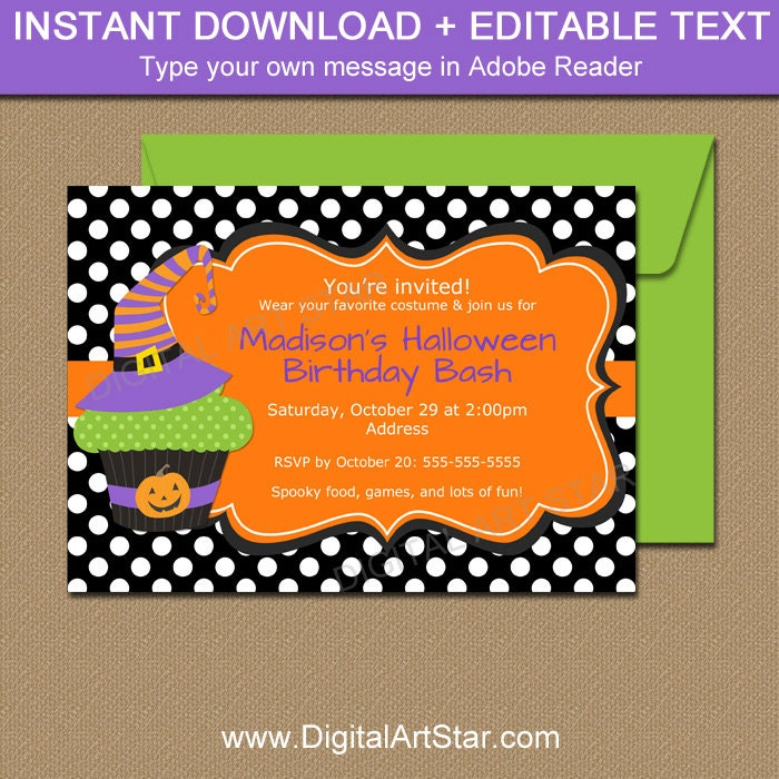 Halloween Birthday Invitation Witch Hat Invitation