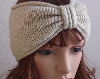 Knitted headband, knitted ear warmer, turban headband, handmade headband for women, front knotted headband, knitted from acrylic yarn