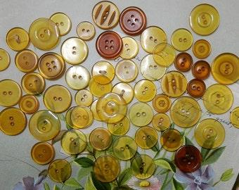60 Assorted Sizes Applejuice Bakelite Button Lot    NDT25