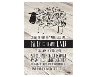 Kids Birthday Baa Baa Black Sheep Invitation PRINTABLE