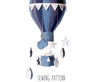 B4 - Pattern Hot Air Balloon with Basket, weight, Flags, Stars and Clouds - 8 and 16 Segments - Baby Mobile, Nursery Decor, Home Decor - DIY