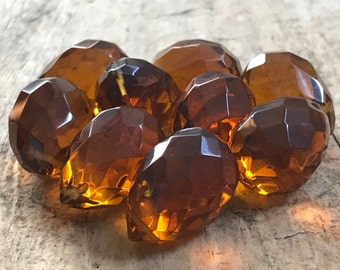 9pc 25x18mm Amber Topaz Faceted Tear Drop, November, Large Briolette, Glass Beads, Glass Tear Drop, Destash Jewelry, Jewelry Supply