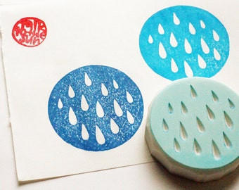 rain drop rubber stamp | rain pattern stamp | circle | birthday card making | summer crafts | fabric stamping | hand carved by talktothesun