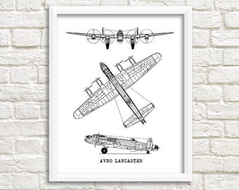 "Lancaster Aircraft Blueprint, Avro Lancaster, Instant Download, Lancaster Airplane, Old Aircraft Blueprint, Aviation Art, 8x10"", 11x14"""