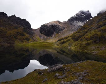 Fine Art Photograph of Andes Mountains and Glacial Lake in the Sacred Valley, Peru (part of Lares Trek)