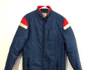 Retro Ski Jacket, Nylon, Medium, Red White and Blue