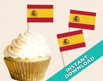 Spanish Flag Toothpick Party Decoration - Spain Party Food Flag, DIY printable food flag, cupcake topper