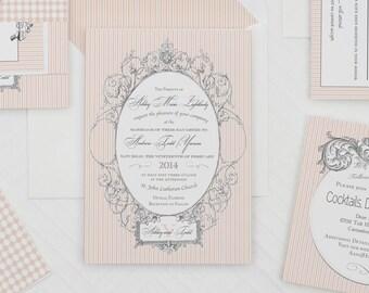 Victorian Striped Wedding Invitation Template,Vintage Striped Wedding Invitation Printable,Chic Striped Wedding Invite Download