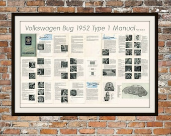 Volkswagen Manual VW 1952 Beetle Type 1 Manual (Part 2 0f 2) Print Vintage Advertising - Vintage Volkswagen - Drawing Art Item 0116