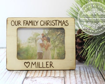Our Family Christmas Personalized Rustic Engraved Picture Frame Christmas Holiday Gift
