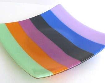Fused Glass Plate in Bright Spring Stripes by BPRDesigns