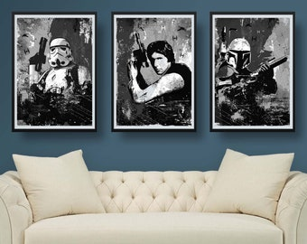 Star Wars 3 Poster Set Characters black and white art - Available in different sizes - Fan Art geek print
