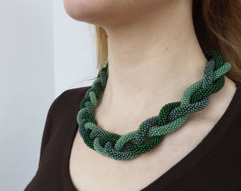 statement green necklace bead crochet necklace simple elegant necklace everyday rope necklace gift for wife office necklace bib green gift