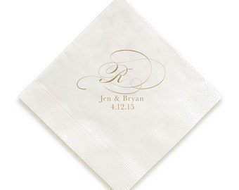 Personalized Napkins and Guest Towels- swirls one letter monogram