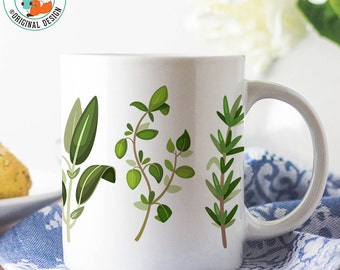 Coffee Mug Herbs Coffee Cup - Great Gift for Chef, Cook or Vegetarian - Fresh Herbs Coffee Mug - Great Chef Gift