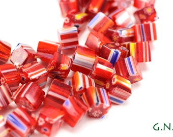 Millifiore Bead 8MM X 8MM Red, Cube Millfiore,Full Strand, #MIL022641