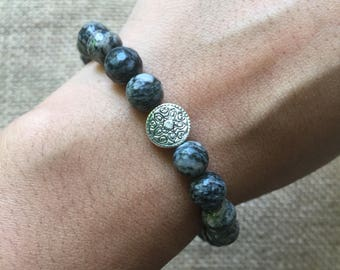 Faceted Spiderweb Jasper and Silver Mandala Bracelet