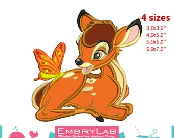 Applique Fawn Bambi. Machine Embroidery Applique Design. Instant Digital Download (17350)