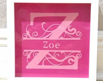 Framed Monogram wall artwork - Girl bedroom decor - Girl wall art - Nursery decoration - Baby room decor - Personalized frame art