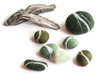 Hand felted Pebbles - Pine Forest
