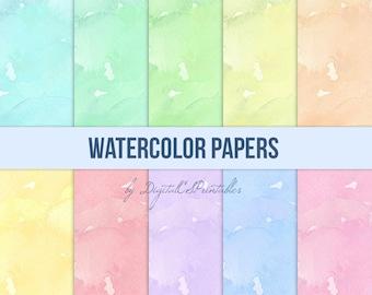 Watercolor digital papers Watercolor background watercolor paper Spring digital paper colorful digital paper