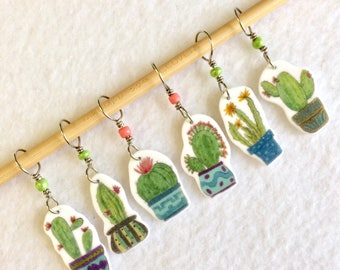 potted cacti stitch markers for knitting, succulents, whimsical knitting accessory, fun gift for knitters, snag free