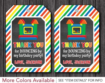 Bounce House Favor Tags   Personalized Bouncy House Birthday Party Thank You Tags   Personalized and Printable