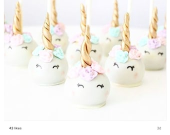 12 Unicorn Narwhal fondant cake pop kit with roses and horns, Birthday, Unicorn Edible Fondant, Unicorn Cake pops, Fondant flowers,Oreo pops