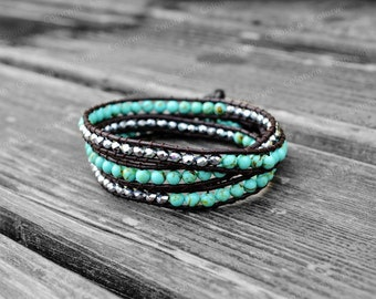 Turquoise Bracelet Leather Turquoise Wrap Bracelet Women Jewelry Leather Wrap Bracelet 4mm Beaded Bracelet Girlfriend Gift For Mother's Day
