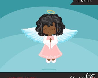 Nativity Angel Clipart. Christmas angel african american, holiday, illustration, graphic, cute, character, religious, christian, holy, bible
