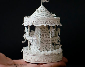 Miniature Carousel - Merry Go Round - Paper Art - Miniature - Book Art