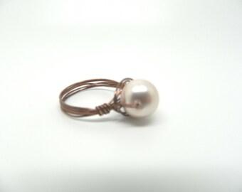 Preciosa Pearl Champagne Wire Wrapped Ring