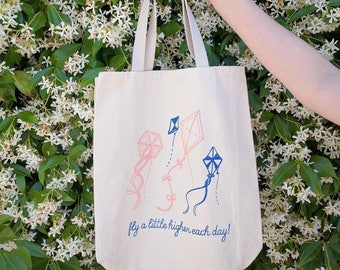 Fly Higher Tote Bag - Screen Printed w/ Cute Kite, Font Design & Royal  and Coral Ink