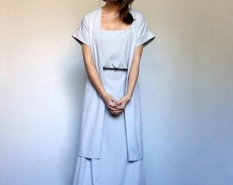 70s Maxi Dress Light Grey 2pc Jacket Sundress Pale Gray Short Sleeve Floor Length Summer Dress - Medium to Large M L