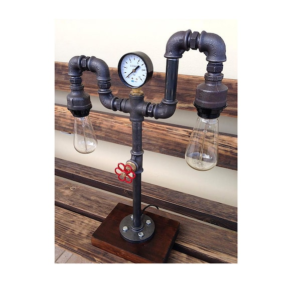 Industrial Pipe Lamp Pipe Light Table Lamp Upcycled