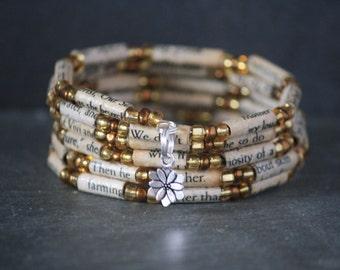 Divine Secrets of the Ya-Ya Sisterhood, recycled book bracelet, book page bracelet, book lover gift, recycled book jewelry, literary jewelry