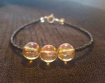 Clear Amber Pink Baubles beaded bracelet
