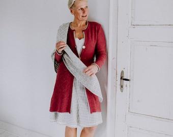 Women's knit coat, lace pattern, handmade